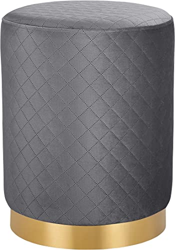 BIRDROCK HOME Round Grey Velvet Ottoman Foot Stool
