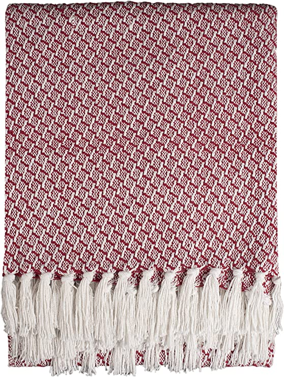 """Red Plum Throw Blankets 50/""""x60/"""" Indoor Set of 2 Throws and Blankets for Sofa Outdoor Throw Blanket Super Soft Cotton Throw Blanket 100/% Soft Cotton Chevron Throw Blankets Couch Blanket"""