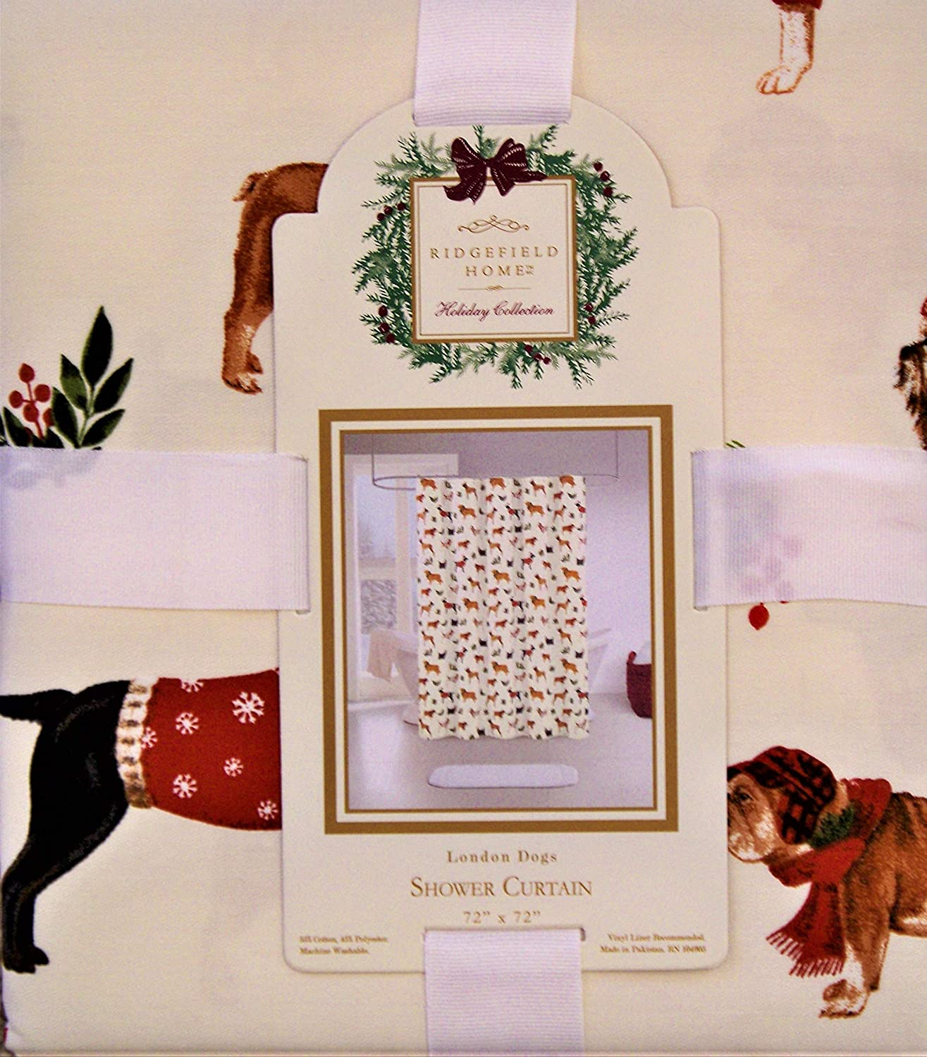 Ridgefield Home Holiday Shower Curtain Dogs Dressed in Holiday Winter Themed Costumes Against Ivory Beige Background