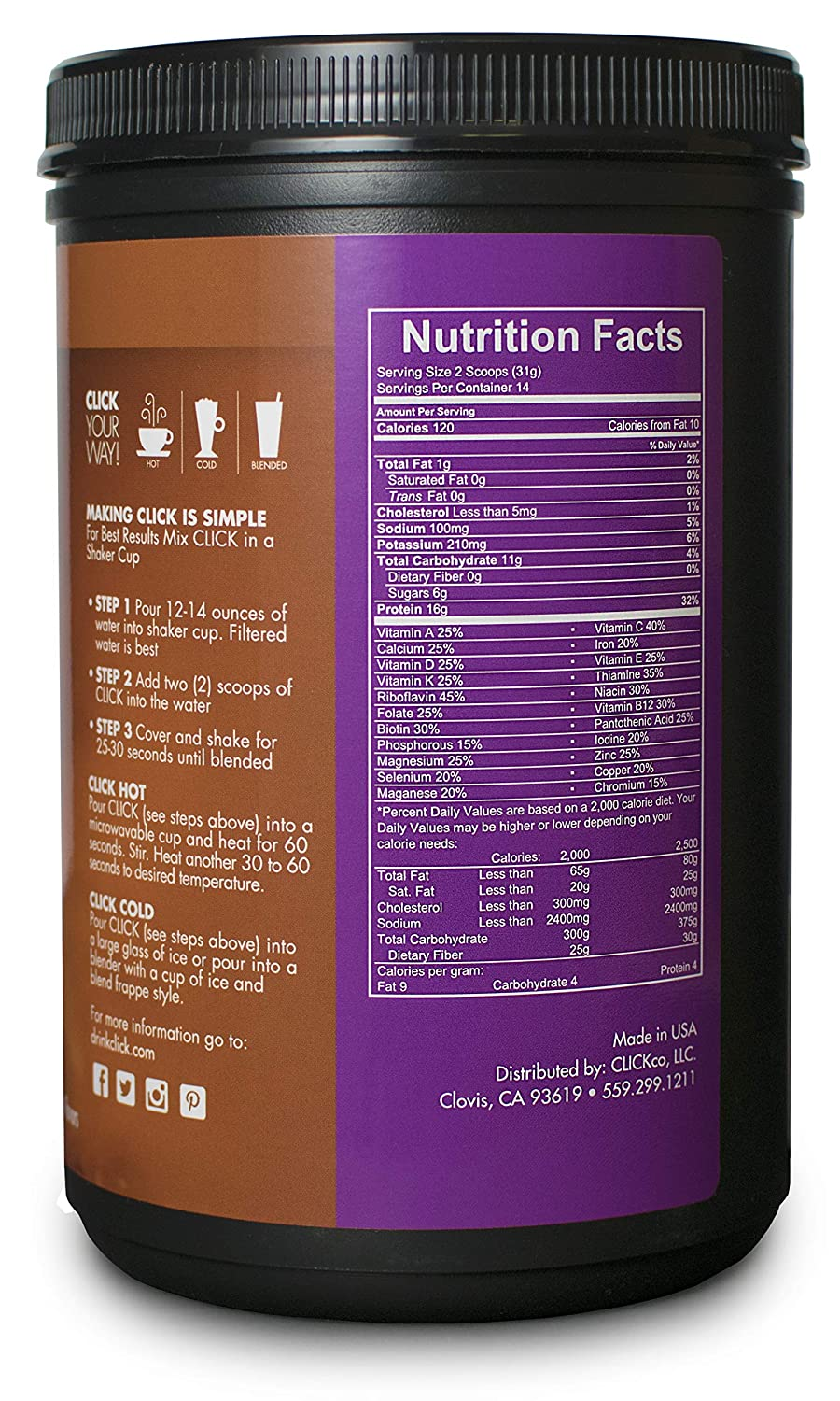 Amazon.com: CLICK All-in-One Protein & Coffee Meal Replacement Drink Mix, Caramel, 15.3 Ounce (2 Pack): Health & Personal Care
