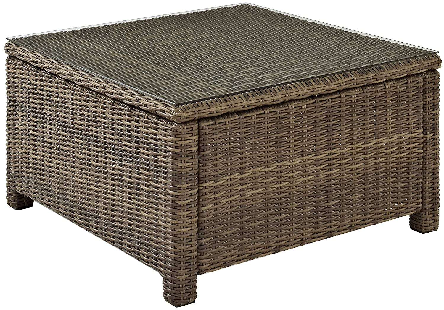 Crosley Furniture Bradenton Outdoor Wicker Sectional Coffee Table with Glass Top – Weathered Brown