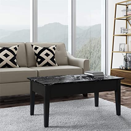 Amazon.com: Faux Marble Lift Top Coffee Table, Black: Kitchen & Dining