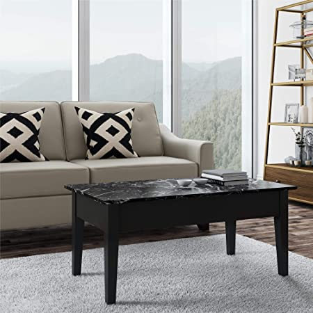 Faux Marble Lift Top Coffee Table, Black
