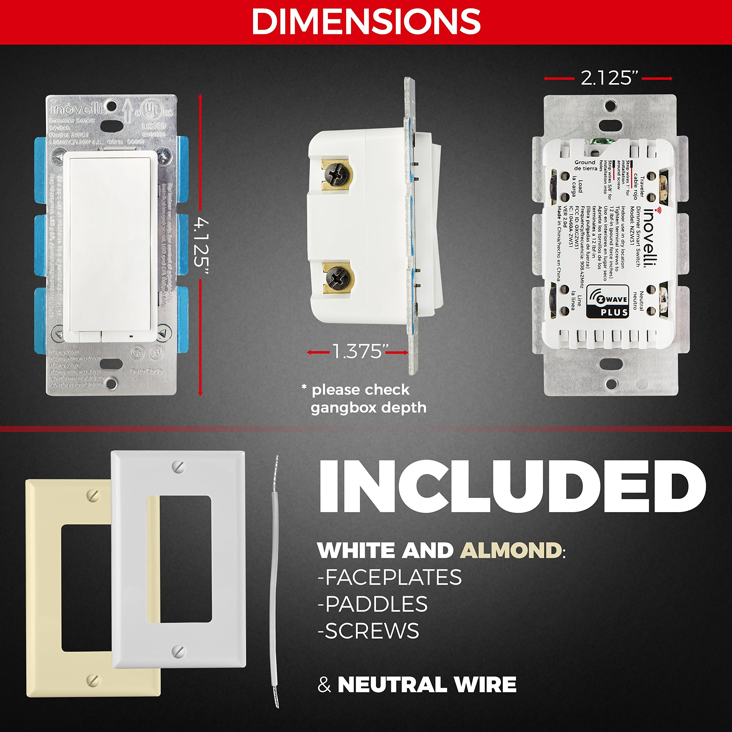 Z-Wave Dimmer Switch + Built-In Z-Wave Repeater (zwave plus) | In ...