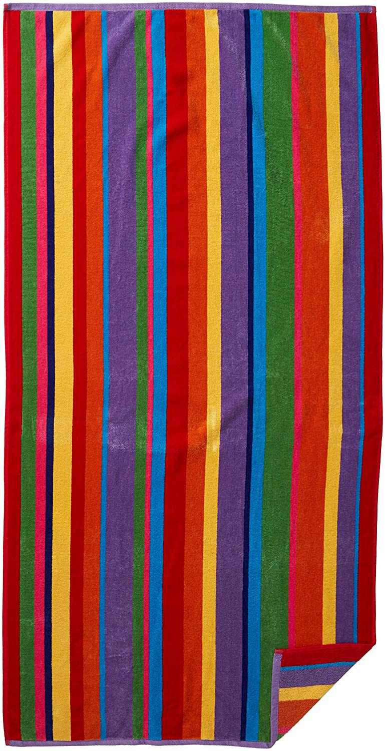 Cotton Craft - Jacquard Double Woven Velour Beach Towel 32x63 2 Pack, Summer of Siam Multi Stripe, Thick Plush Luxurious Velour Pile, 450 GSM, 100% Pure Ringspun Cotton, Brilliant Vibrant Colors FBA_73523