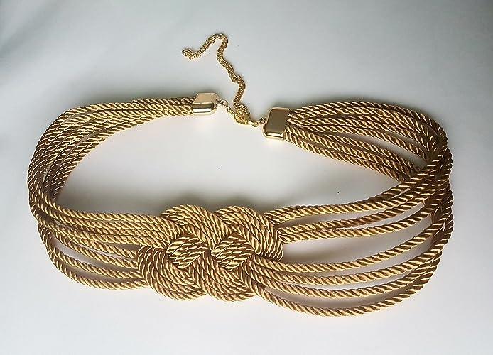 Cinturón mujer en cordón trenzado de seda con nudo marinero  Amazon ... 2c4000a2c7a6