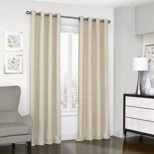 Eclipse Trevi Thermal Insulated Single Panel Grommet Top Darkening Curtains for Living Room, 52 x 108 , Natural