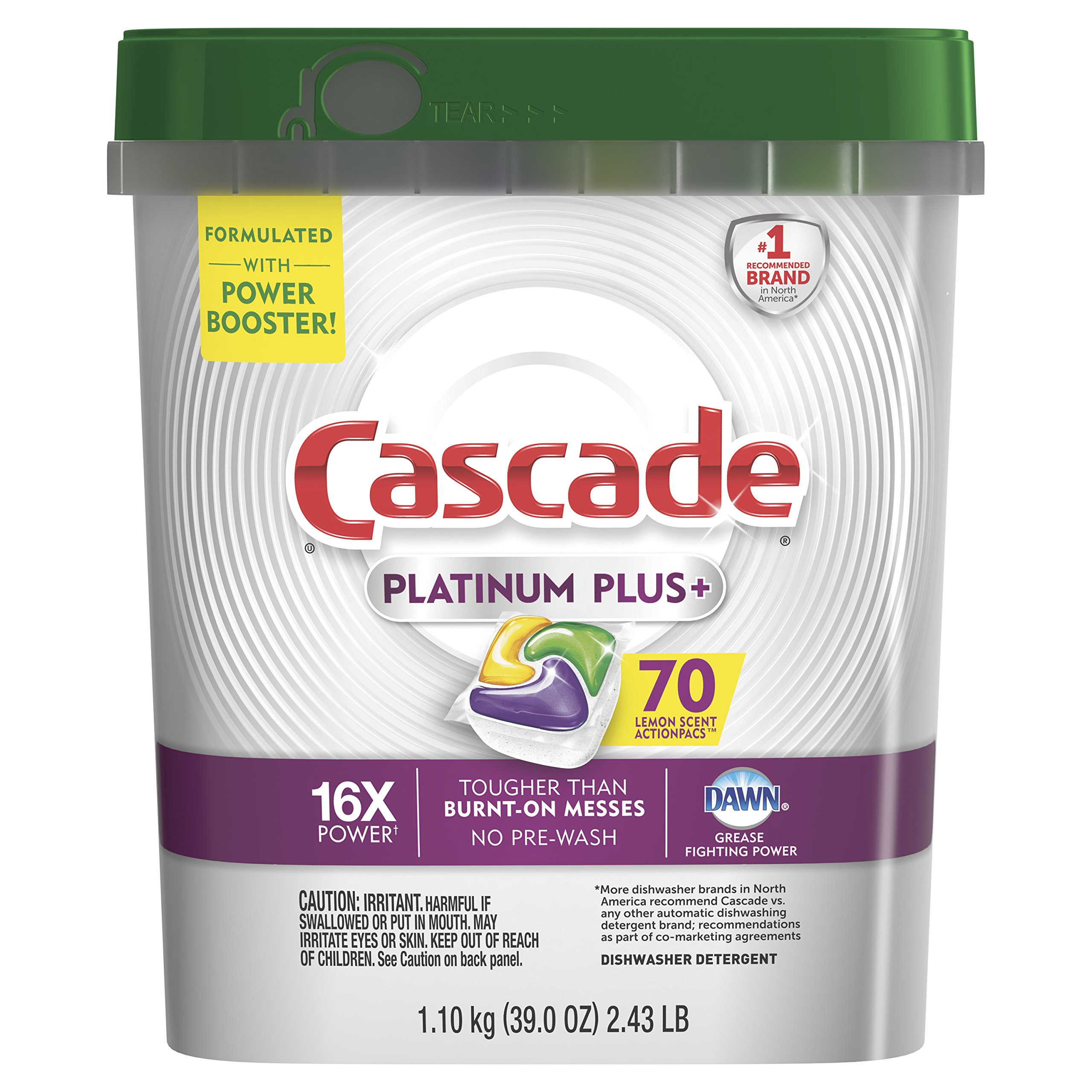 Cascade Platinum Plus Dishwasher Detergent Actionpacs, Lemon, 70 Count