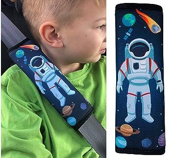 Gurtpolster Sicherheitsgurt Kindersitz Dunkelblau Geschenk Raketen Weltall NEU