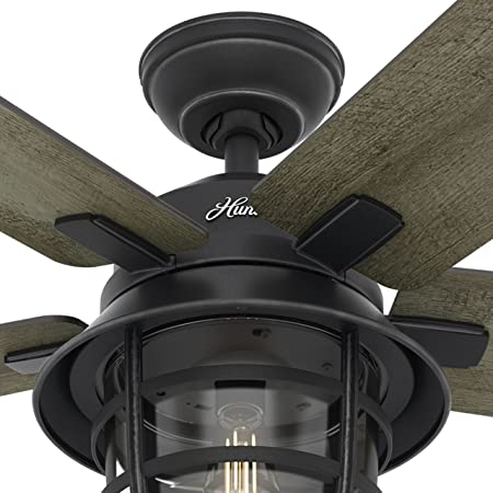 Hunter Fan 54in Weathered Zinc Outdoor Ceiling Fan with a Clear Glass LED Light Kit and Remote Control, 5 Blade Renewed