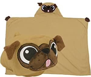 Comfy Critters Stuffed Animal Blanket – Pug – Kids Huggable Pillow and Blanket Perfect for Pretend Play, Travel, nap time.