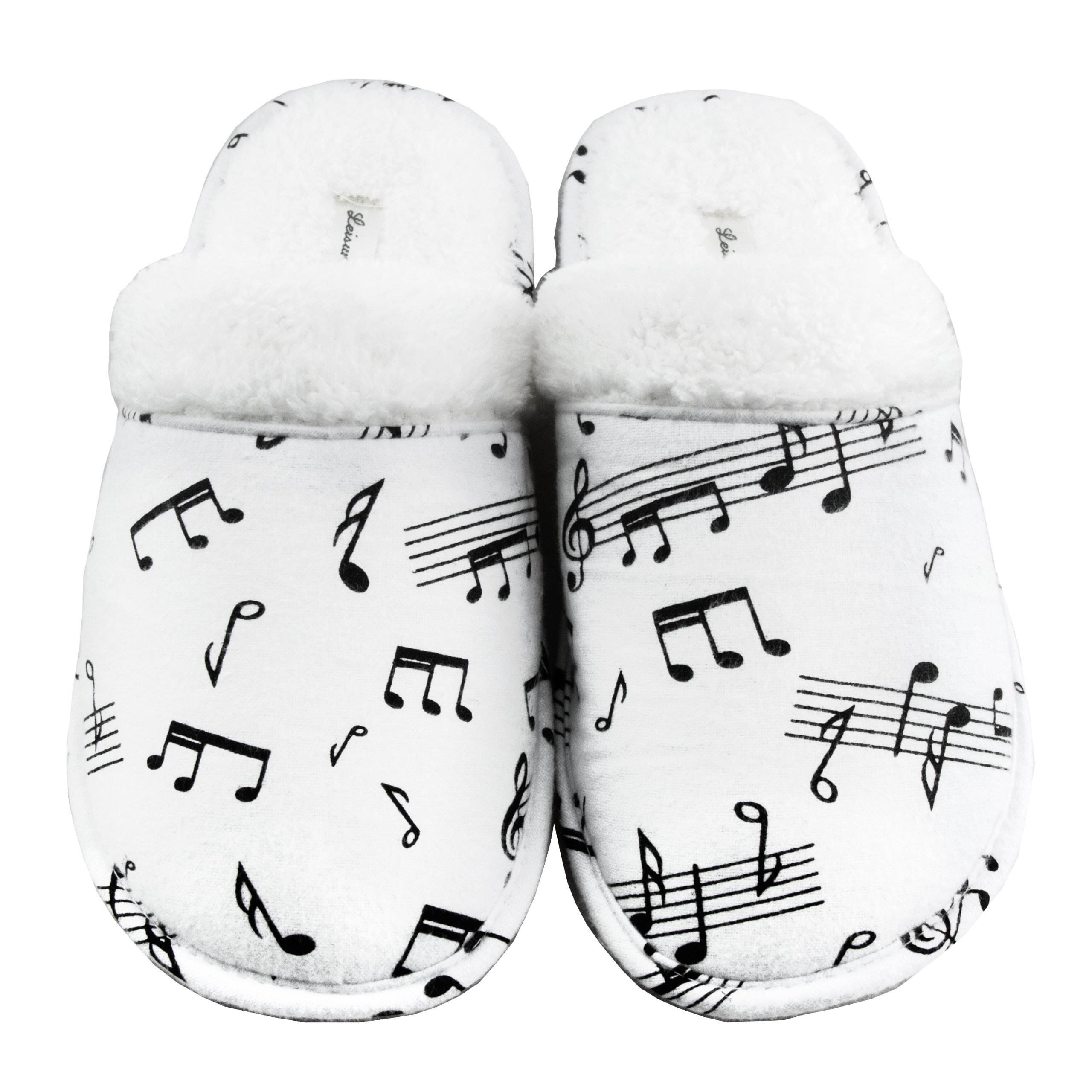 Leisureland Women's Cotton Flannel Cozy Slippers Music Notes (Large)