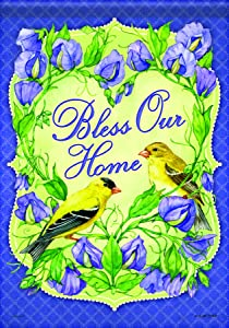Carson Home Accents Flagtrends Classic Garden Flag, Bless Our Home Goldfinch Blessings