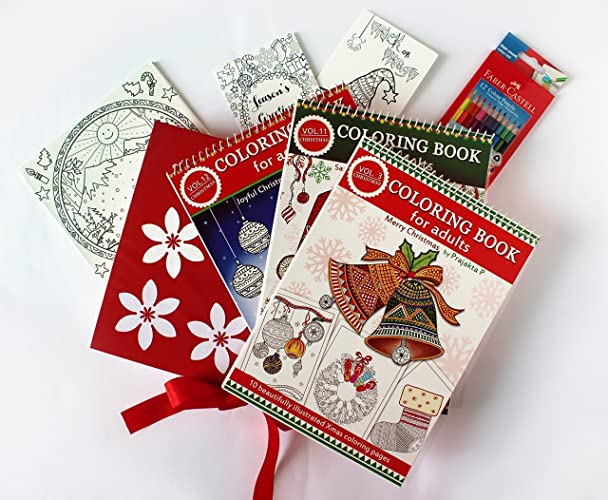christmas coloring gift set for adults 3 coloring books 2 coloring greeting cards