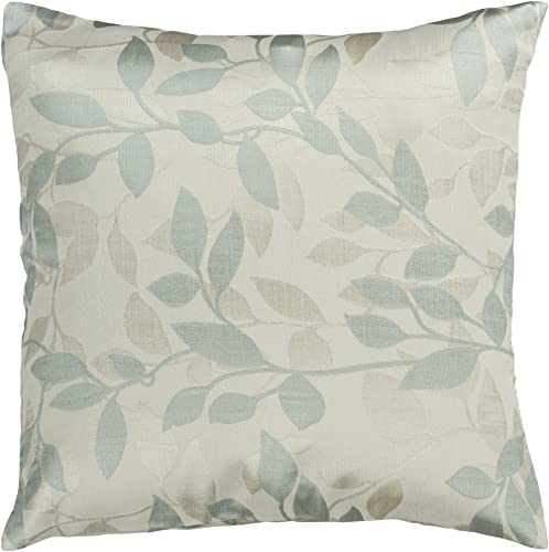 Artistic Weavers HH-057 Hand Crafted 88 Polyester 12 Polyamide Light Blue 22 x 22 Floral Decorative Pillow