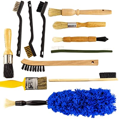 Pro-grade Auto Detailing Brush Kit 12 Pack. Ultra Value Set For Interior and Exterior Car Care. Clean Every Crevice with Gentle, Scratch-Free Natural Detailing Brushes and Heavy-Duty Wire Scrubbers: Automotive