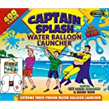 Water Balloon Launcher 400 Yards by Captain Splash, 3 Person Slingshot Cannon Catapult, 150 FREE Water Balloons & Carry Case Included. (Black, Extra Strong Latex Sling) 2018 Edition. Outdoor Games