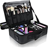 Primalour Makeup Train Case - Professional Cosmetic Travel Make Up Bag For Women with Make Up Brush Holder, Dividers, Storage for Accessories and Toiletries - Easy to Carry, Heavy Duty, and Waterproof