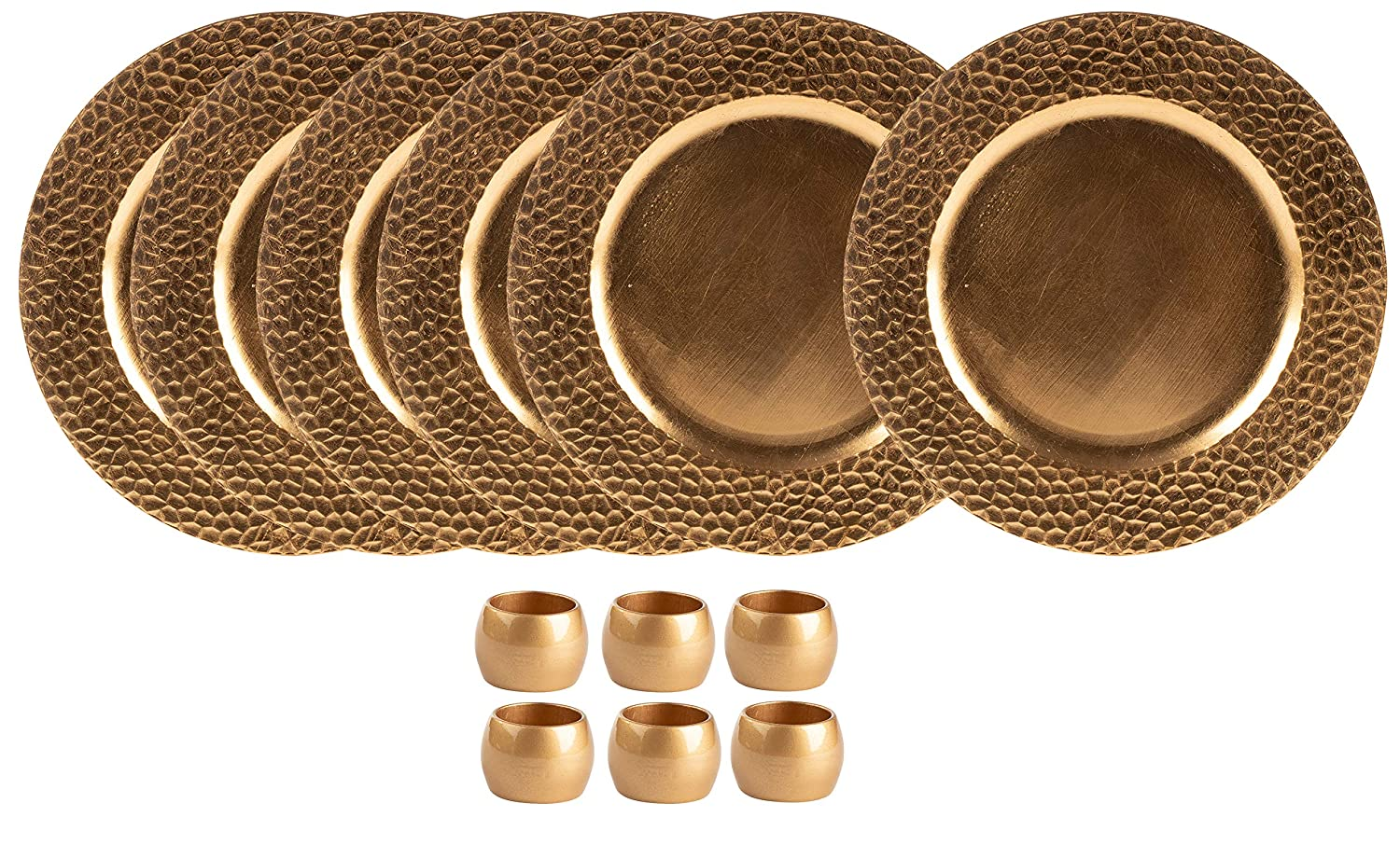 Round Charger Plates and Napkin Rings Set- 12-Piece 13-Inch Gold Charger Plates with Hammered Texture and Electroplated Finish, For Special Events, Weddings, Banquets Juvale