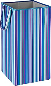 Honey-Can-Do HMP-01134 Rectangular Collapsible Hamper with Hand,Bright Blue/Purple Stripe