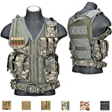 Lancer Tactical 600D Urban Assault Modular Cross Draw Pistol Holster and Rifle Magazine Pouch Tactical Vest Adjustable Belt Quick Release Buckle Accessory Pouches (ACU, REGULAR)