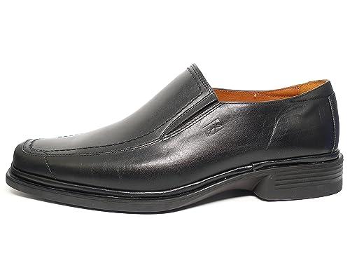 Fluchos Zapatos Hombre de Vestir Tipo Mocasín Piel Negro con Elásticos Laterales - 5819 (39, Negro): Amazon.es: Zapatos y complementos
