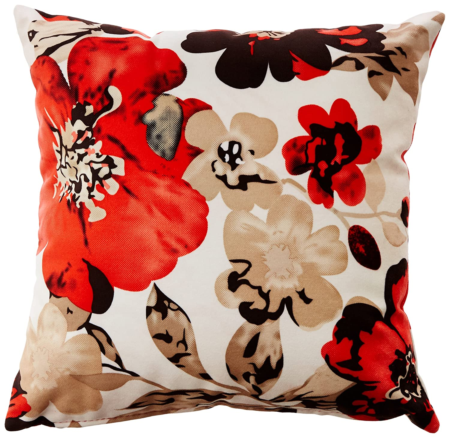 Cortesi Home Oppy Decorative Square Accent Pillow, Red Flower Print 16'x16' Red Flower Print 16x16 CH-AP380005