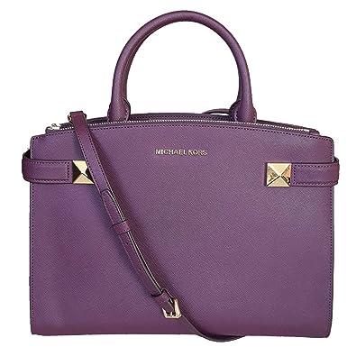 4e8e95074459 Image Unavailable. Image not available for. Color  MICHAEL Michael Kors MD medium  Karla satchel damson bag purse messenger crossbody handbag MK