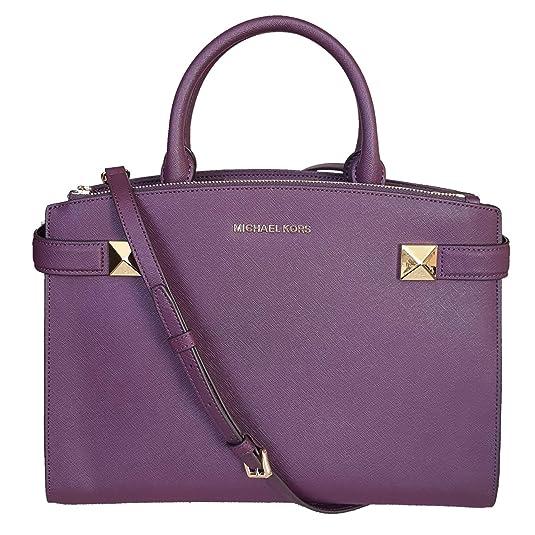 f0cb3395bb05 MICHAEL Michael Kors MD medium Karla satchel damson bag purse messenger  crossbody handbag MK: Handbags: Amazon.com