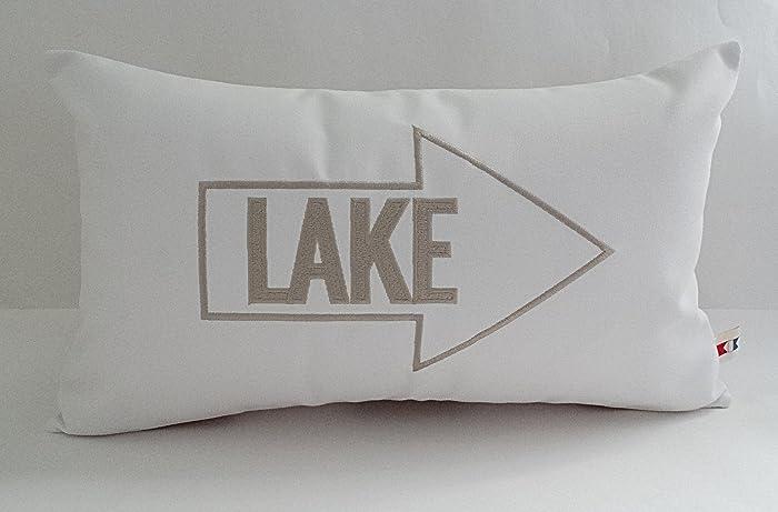 Amazon Com Sunbrella Canvas Natural Embroidered Lake Indoor