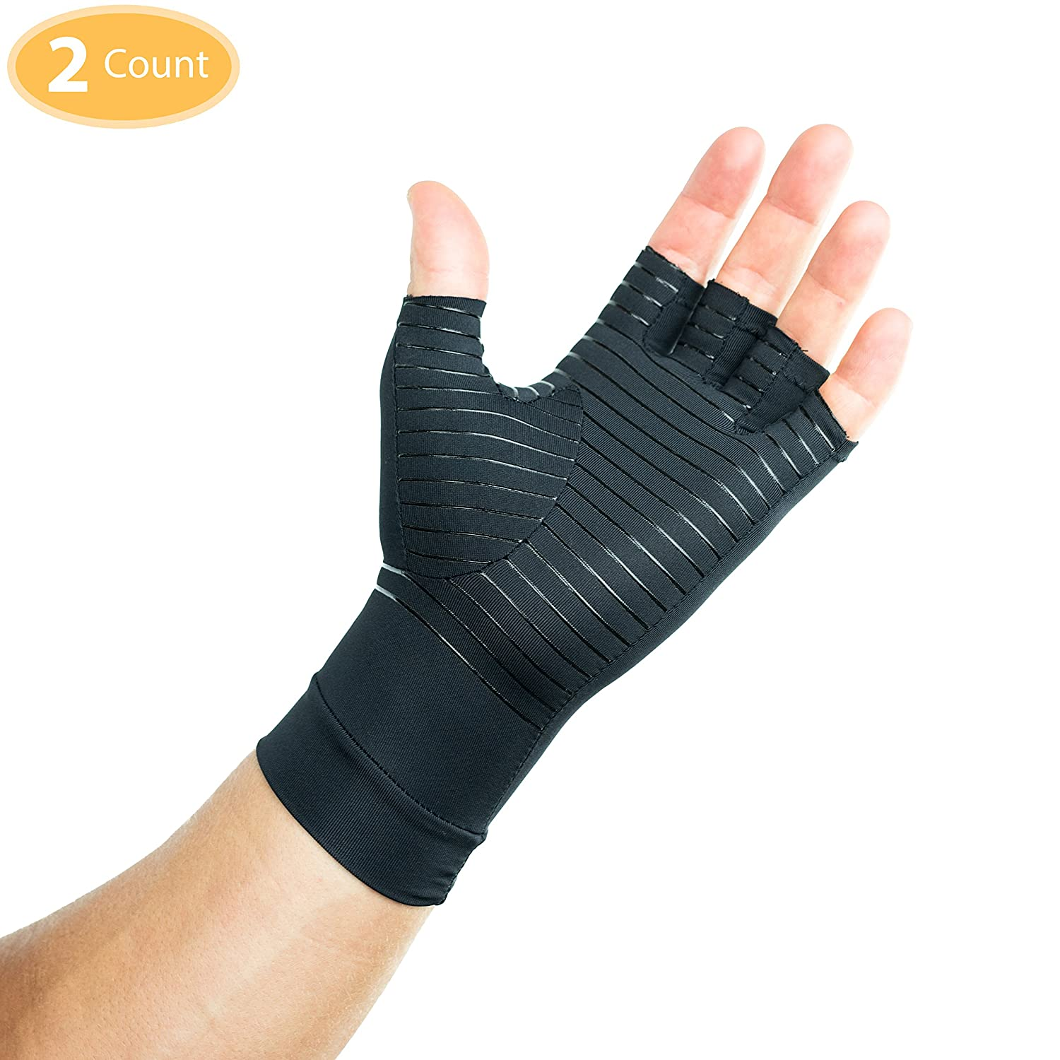 Running Other Uses: Sports Unisex Carpal Tunnel and Muscle or Joint Pain for Men and Women Compression Gloves Infused With Copper for Arthritis Cycling Workouts Gym Athletes Gaming Driving