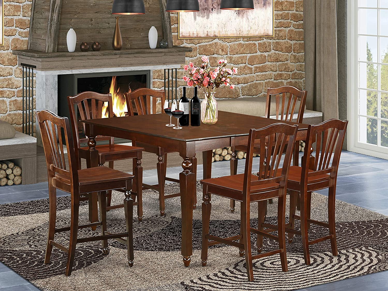 7 PC counter height Dining set- Square pub Table and 6 counter height Chairs