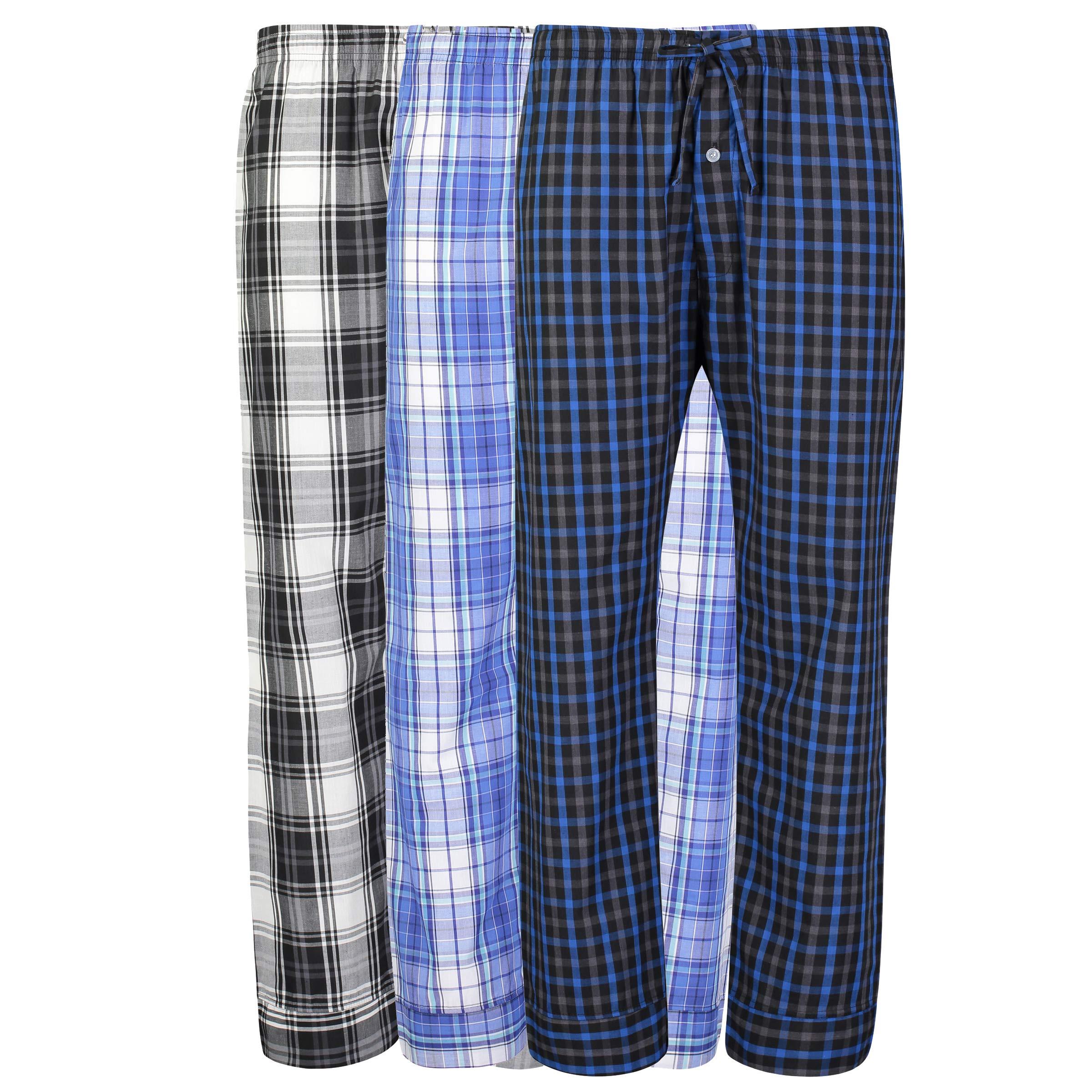 Mens 3 Pack Woven Pajama Pants Lounge Pants Sleep Pants Sleepwear Assorted Various Plaids (Large)