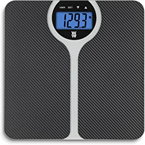 WW Scales by Conair Carbon Fiber Design BMI Bathroom Scale, Shows BMI (Body Mass Index) for 4 users, 400 Lbs. Capacity