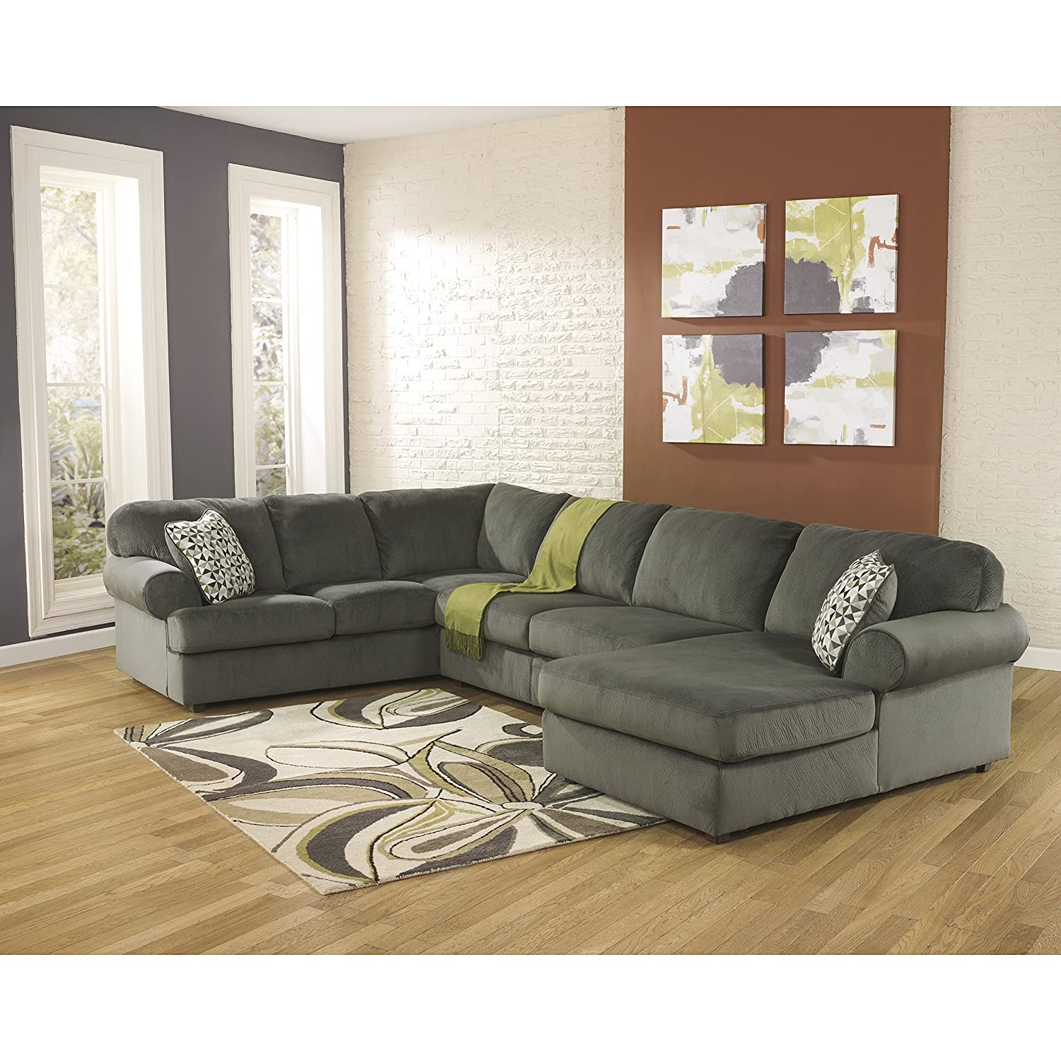 Super Signature Design By Ashley Jessa Place Sectional In Pewter Fabric Gmtry Best Dining Table And Chair Ideas Images Gmtryco