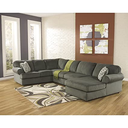 reputable site a2abf fde4f Signature Design by Ashley Jessa Place Sectional in Pewter Fabric