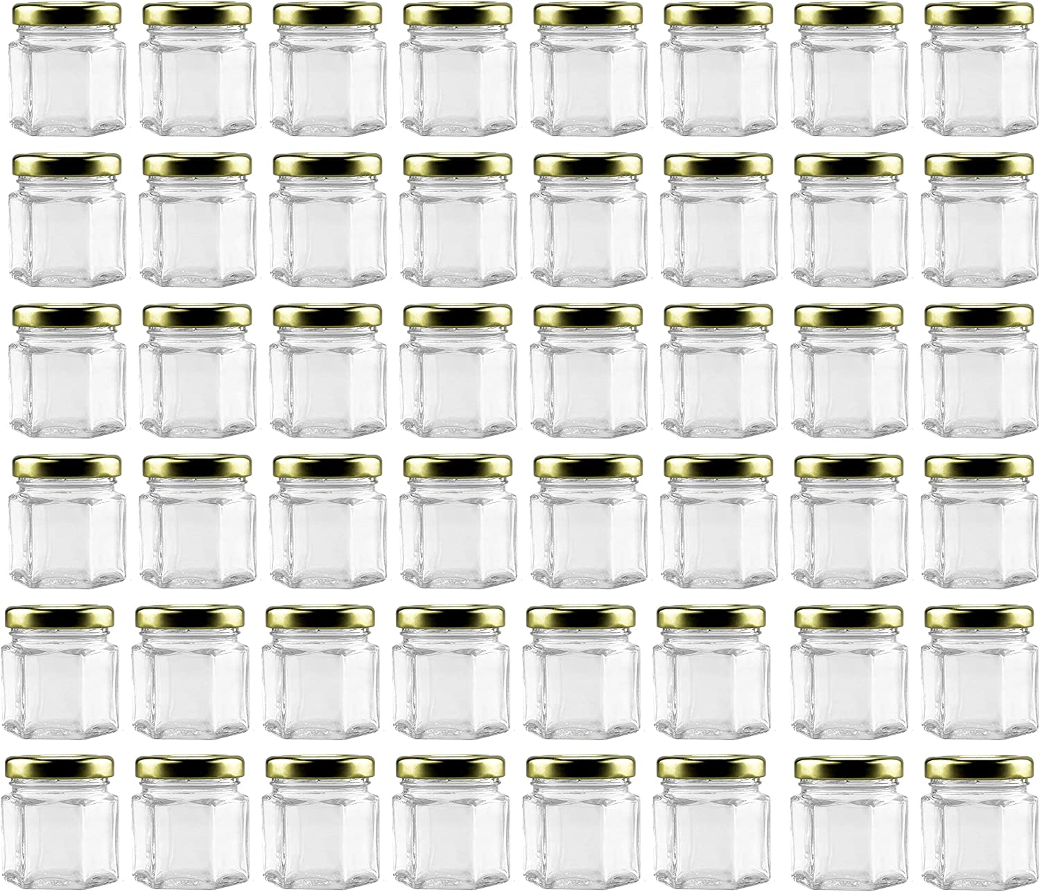 Mini Hexagon Glass Jars (1.5oz, 48-Pack); Tiny Hex Jars with Gold Lids for Spices, Gifts, Party Favors, DIY and More, 3-Tablespoon Capacity