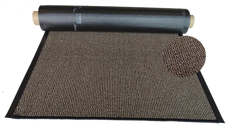 Mertex Schmutzfangläufer Meterware 90 cm braun-schwarz meliert (90 x 600 cm, Schnittkante mit Randprofil) B07P4ZR572 Lufer