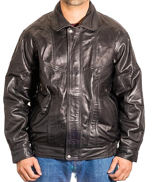 Para hombre real italiana Negro cl‡sico de la chaqueta de cuero retro ocasional cazadora Bombardero de: Amazon.es: Ropa y accesorios