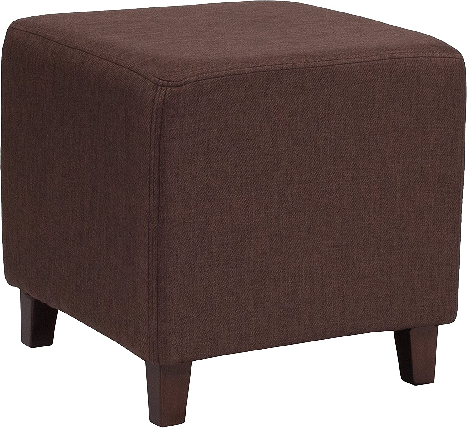 Flash Furniture Ascalon Upholstered Ottoman Pouf in Brown Fabric