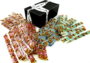 Dorval Sour Power Belts 4-Flavor Variety: Ten 0.35 oz Packages Each of Green Apple, Blue Raspberry, Watermelon, and Strawberry in a BlackTie Box (40 Items Total)