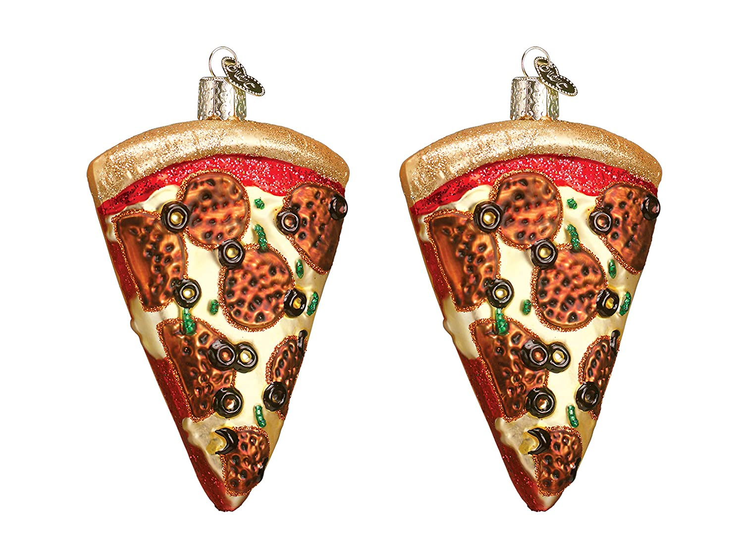 Set of 2 Old World Christmas Pizza Slice Glass Blown Ornament bundled by Maven Gifts
