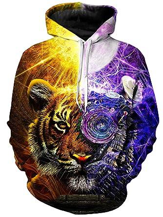 f54010b0e1d8 Amazon.com  Bionic Tiger Psychedelic Vibrant (Front Back) 3D Graphic ...