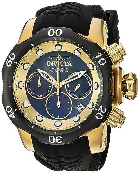 Invicta Venom cuarzo reloj Casual de Silicona y acero inoxidable, Color negro (