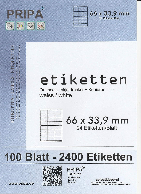 pripa FBA Versand Etiketten 66,0 x 33,9-24 Stueck auf A4-50 Blatt DIN A4 selbstklebende Etiketten