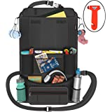 Car Back Seat Organizer | Insulated Pockets | Backseat Organizer for Kids | iPad/Tablet Holder | Universal Use | Protects Seats & Keeps Car Organized | Black 600D Nylon Material | Bonus Safety Hammer