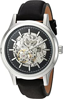 Armitron Mens 20/5169BKSVBK Automatic Silver-Tone and Black Leather Strap Watch