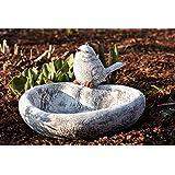 Vogeltränke Herz mit Steinfigur Vogel, Garten Deko, massiver Steinguss, frostfest bis -30°C