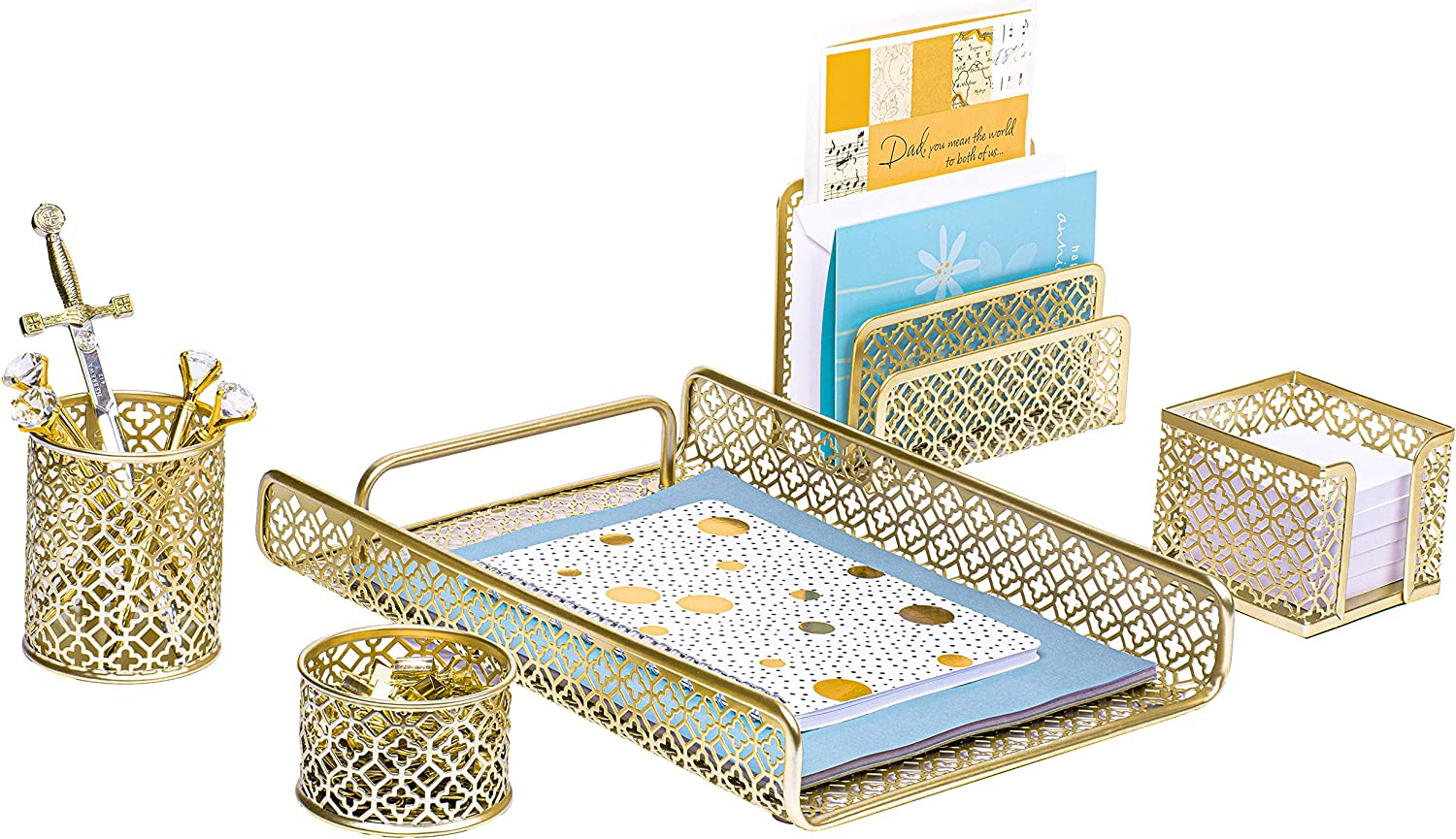 Gold Desk Organizer Set Metal 5 Piece for Office Decor. Great for Office Desk, Home & School. Desk Decor Designed for your Office Supplies & Desk Organization. The Perfect Desk Accessory by MissionMax