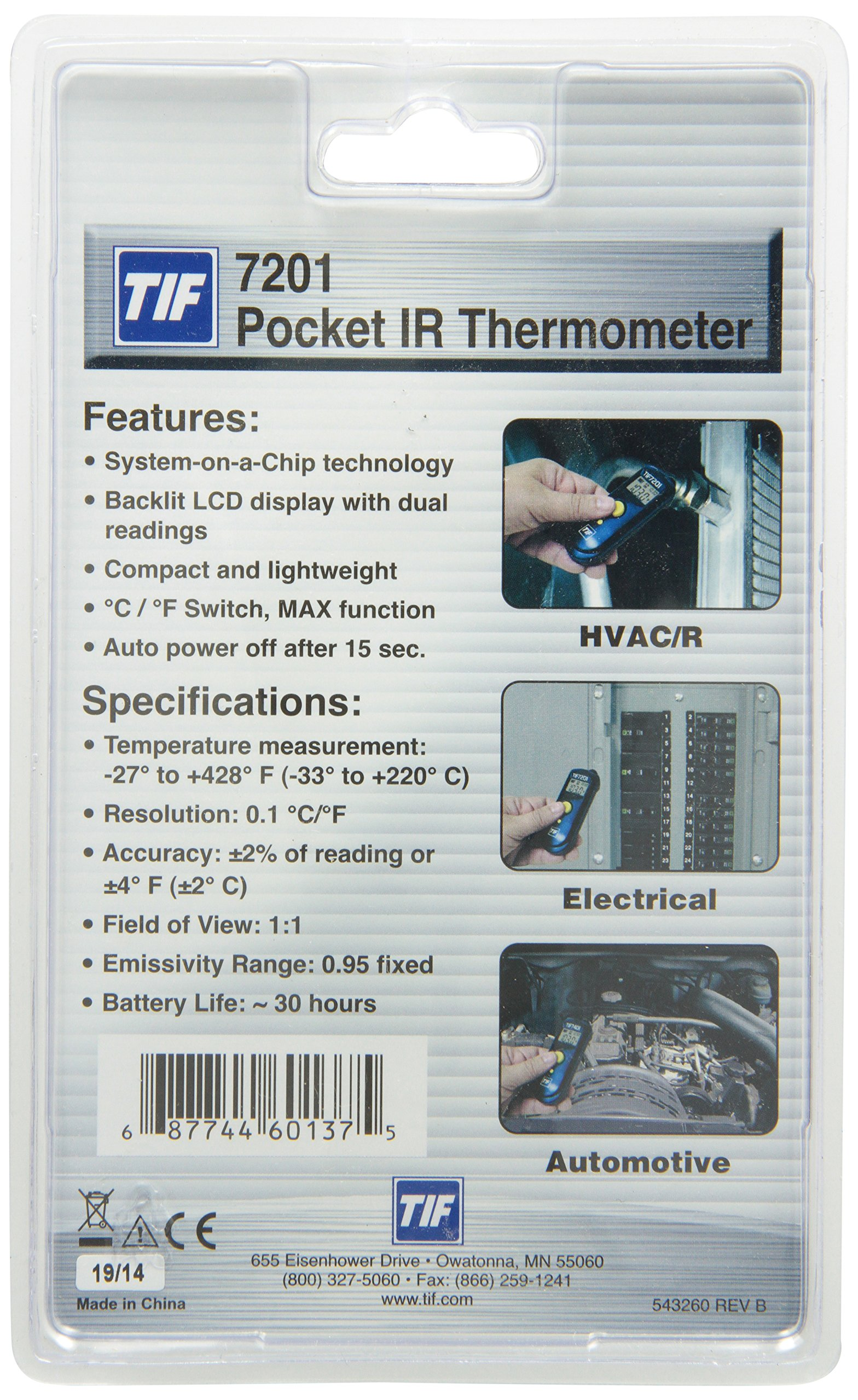 Robinair TIF7201 Pocket Infrared Thermometer with 1:1 Distance To Spot Ratio by Robinair (Image #2)